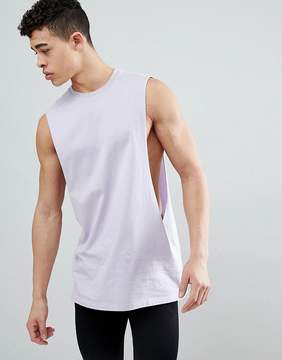Asos DESIGN longline tank with extreme dropped armhole in light purple