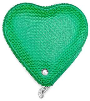 Aspinal of London Heart Coin Purse In Grass Green Lizard