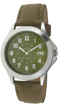 Peugeot Watches Men's Military Style Canvas Strap Watch - Green
