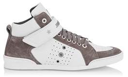 Jimmy Choo Men's Lewisocu163 Grey/brown Leather Hi Top Sneakers.
