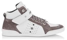 Jimmy Choo Men's Lewisocu163 Grey/brown Leather Hi Top Sneakers.
