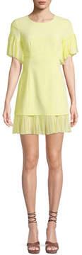 Cinq à Sept Rosaria Crewneck Short-Sleeve Sheath Dress w/ Pleated Chiffon Trim