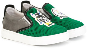 Fendi Kids logo slip-on sneakers