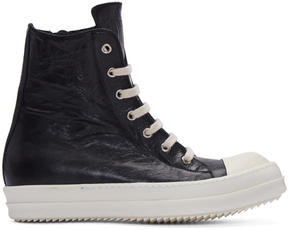 Rick Owens Black Distressed High-Top Sneakers
