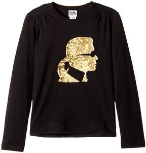 Karl Lagerfeld Long Sleeve Graphic Tee with Gathering On The Shoulders Girl's T Shirt