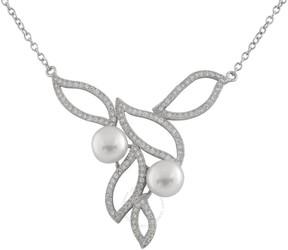Bella Pearl Sterling Silver Pearl Leaf Pendant