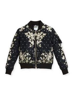 Givenchy Baby's Breath Print Puffer Bomber Jacket, Size 4-5