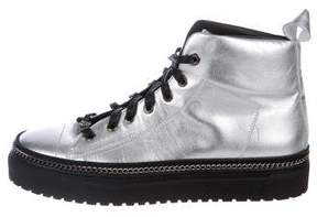 John Galliano Leather Chain-Accented Sneakers