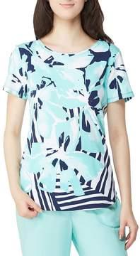 Allison Daley Petites Floral-Stripe Print Crew-Neck Top