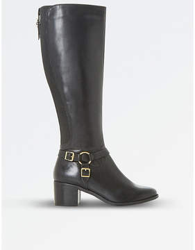 Dune Ladies Black Floral Vicky Harness Leather Knee-High Boots