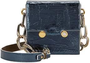 Marni Crinkled Dark Blue Leather Shoulder Bag