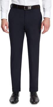 Armani Collezioni Basic Flat-Front Wool Trousers, Navy