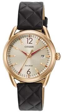 Citizen FE6083-13P Black/Rose-Gold SS LTR Women's Eco-Drive Watch