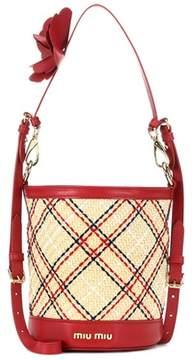 Miu Miu Embroidered raffia bucket bag