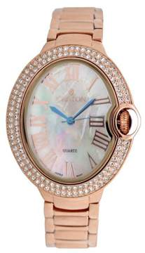 Croton Ladies Rosetone Quartz Watch with Crystal Bezel & Mother of Pearl Dial