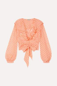 Temperley London Ruffled Polka-dot Silk-chiffon Blouse - Peach