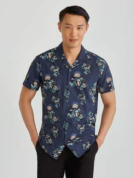 Frank and Oak Short Sleeve Super Soft Camp Collar Mini Floral All Over Print in Navy Blaze