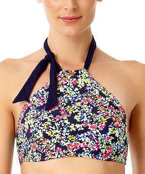 Anne Cole Navy Floral Tie-Accent High-Neck Halter Bikini Top - Women