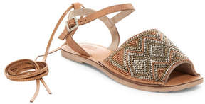 Rebels Stina Beaded Leather Ankle Tie Sandal
