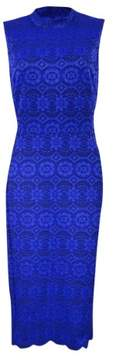 Vince Camuto Women's Lace Mock-Neck Sheath Dress (14, Royal)