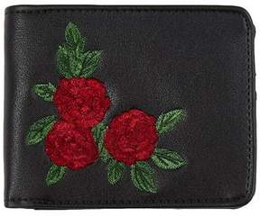 Topman Mens Black Rose Embroidered Bifold Wallet
