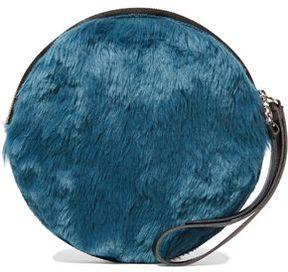 Maison Margiela Faux Leather-Trimmed Faux Fur Clutch