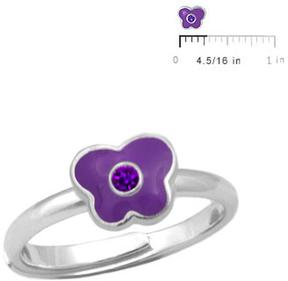Ice Silver February Birthstone Butterfly Girls' Adjustable RIng (Size 3 to 7)