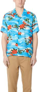 Gitman Brothers Short Sleeve Blue Aloha Shirt
