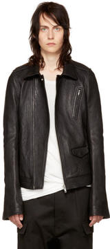 Rick Owens Black Leather Stooges Bomber Jacket