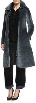 Armani Collezioni Reversible Shearling Fur Princess Coat, Dark Gray
