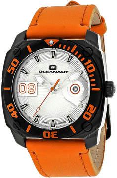 Oceanaut Mens Barletta Silver & Orange Leather Strap Watch