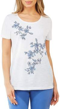 Allison Daley Floral Embroidered Short Sleeve Solid Knit Top
