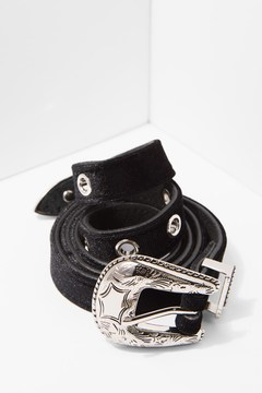 7 For All Mankind Baby Frank Velvet Belt In Black And Silver