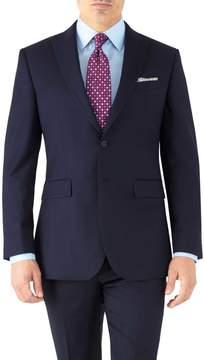 Charles Tyrwhitt Navy Slim Fit Peak Lapel Twill Business Suit Wool Jacket Size 38