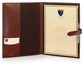 Aspinal of London A4 Padfolio In Smooth Cognac Espresso Suede