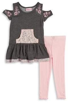 Flapdoodles Little Girl's Heather Lace Top and Leggings Set