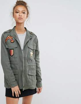 B.young High Neck Jacket With Badges