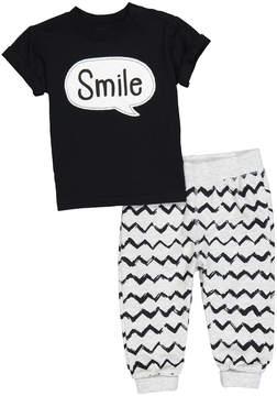 Petit Lem Black 'Smile' Crewneck Tee & Zigzag Pants - Infant & Toddler