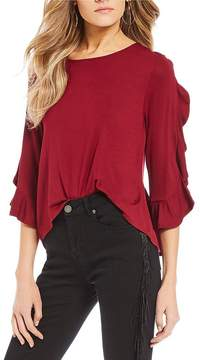 Chelsea & Violet C&V 3/4 Ruffle Sleeve Knit Top
