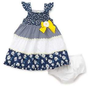 Little Me Baby Girl's Two-Piece Floral Cotton Dress and Eyelet Bloomers Set