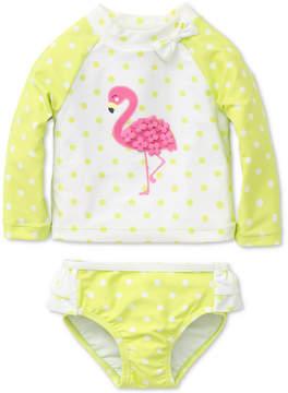 Little Me 2-Pc. Flamingo Rash Guard Set, Baby Girls