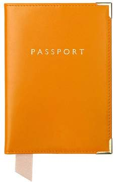 Aspinal of London Plain Passport Cover In Smooth Steel Blue Silver Suede