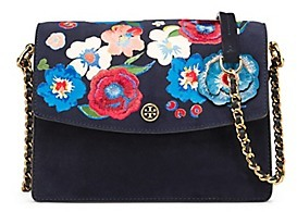 Tory Burch Parker Embroidered Convertible Shoulder Bag - NAVY BLUE - STYLE