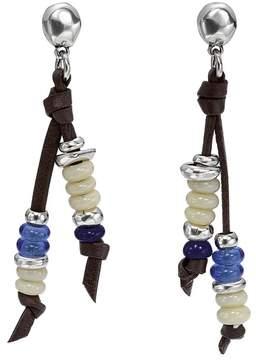 Uno de 50 Lollapalooza Stacked Glass Bead Double-Strand Leather Stud Earrings