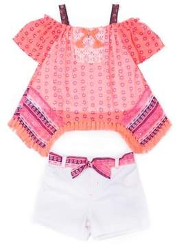 Little Lass Cold Shoulder Handkerchief Top & Shorts, 2-Piece Outfit Set