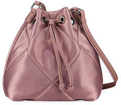 Neiman Marcus Quilted Satin Drawstring Bag