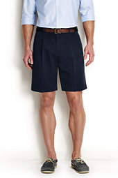 Lands' End Men's 9 Pleat Front No Iron Chino Shorts-Steeple Gray