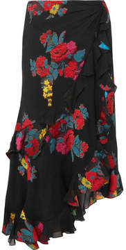 Etro Ruffled Fil Coupé Silk-blend Skirt - Black