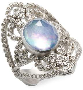 Armenta Women's Sterling Silver Diamond and Gemstone Open Oval Ring
