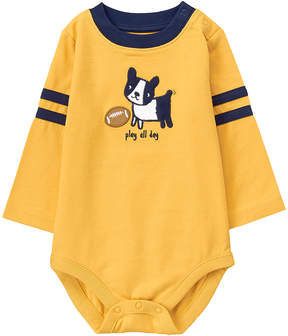 Gymboree Yellow 'Play All Day' Pup Appliqué Rugby Stripe Bodysuit - Infant